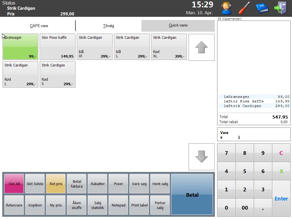 FlexPOS Kassesystem , Main salgs billede / UI