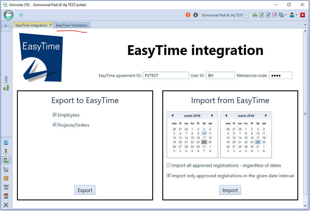 English EasyTime Integration