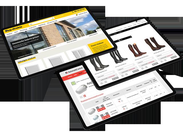 Eksempler på webshops som er integreret med Uniconta